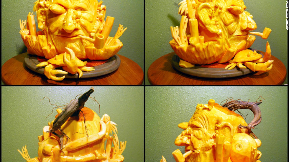"ThisOldHouse.com shared the winners of its fourth annual Pumpkin Carving Contest. This salty man, carved by Michael Wallo of Edmond, Oklahoma, seems to have brought a few of the sea creatures home with him, including fish, squid and crab. <a href=""http://www.thisoldhouse.com/toh/photos/0,,20538780,00.html"" target=""_blank"">See the full gallery of winning entries</a>."