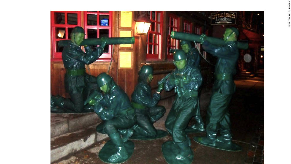 "These green Army men figurine costumes took 10 hours to make -- per costume -- last year, according to iReporter Ellen Winter of Aspen, Colorado. She says she and her group struggled to paint everything green and keep the paint on certain materials. ""Everyone loved the costumes; we stopped to pose everywhere, because the green Army men were never moving -- they are a stationary toy. I think everyone in our town has a photo of us on their camera."""