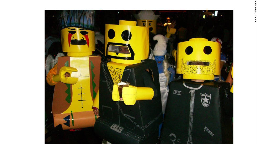 "Strangely enough, there was another Lego celebrity submission. This group from Texas went as the Lego version of the Village People. Luke Wade of Houston says, ""Each costume took about 20 hours of work to cut and assemble what is primarily foam, cardboard and posterboard."" Walking wasn't so easy though."