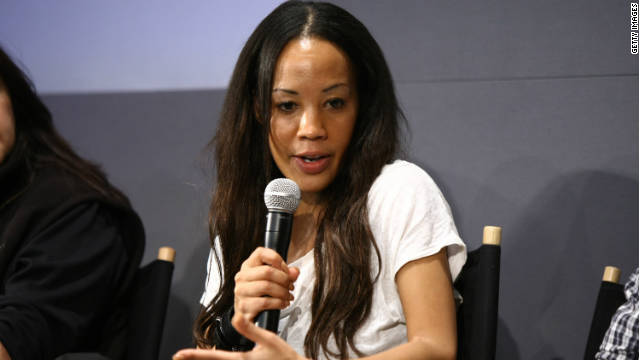 Maggie Betts speaks in New York on a panel about the Tribeca Film Festival, where her movie about  AIDS in Africa was shown.