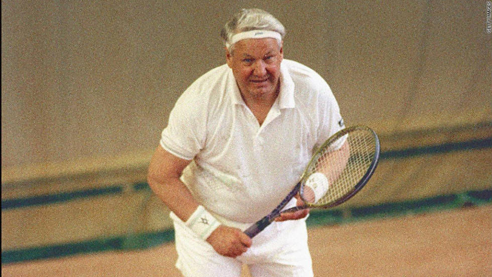 Chakvetadze's move from tennis into politics is not the first time the two worlds have mixed. Former Russian president Boris Yeltsin shows off his skills at the net in a match in 1991.