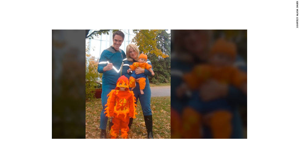 "Alicia Sauer, ""the mother of the two little lovely superheroes in the picture,"" says her son Urban chose the superhero theme for Halloween last year. The Bloomington, Minnesota, family was decked out as the Fantastic Four because ""we always try to dress as a clan."" Brett, her husband, was Mr. Fantastic; Urban, then 4, and was The Human Torch; Beringer, 7 months old at the time, was The Thing."