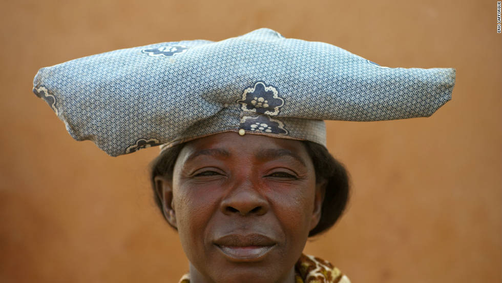 The traditional hat that the Herero wear represents the horns of cattle, an animal of significant importance to them.