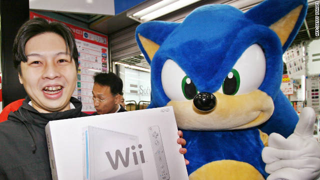Sega's popular video game character, Sonic the Hedgehog, at a 2006 launch event for Nintendo's Wii.
