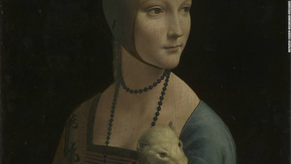 The woman in this painting is thought to be Cecilia Gallerani, a famously beautiful mistress of da Vinci's patron Ludovico Sforza. One of only four portraits attributed to da Vinci, this painting shows the artist's great skill in depicting the human form (note the detailed depiction of Gallerani's hand).