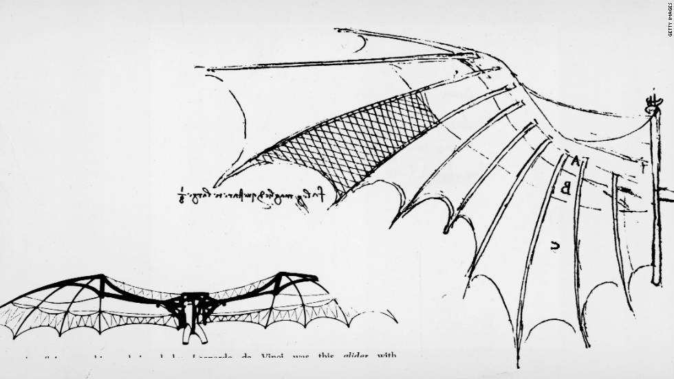 Da Vinci grew interested in human air travel in his 30s and devoted many hours to developing his designs for flying machines. Using nature as a starting point, he studied how birds, bats and insects fly as one way of understanding aerodynamics. The sketch here is of the wings of a glider, which appears to be based on da Vinci's study of bat wings.