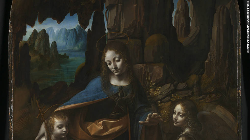 This is the title for two paintings with very similar subject matter and composition, one housed in the Louvre Museum in Paris, the other in The National Gallery in London (this version). The Louvre painting is thought to be the earlier. 'The Virgin of the Rocks' was commissioned as part of an elaborate sculpted altar for the oratory in the church of San Francesco in Milan in 1480. The painting was sent to France and da Vinci painted a replacement for the church.