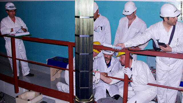 Workers carry out inspections at a nuclear power plant in Bushehr, in southern Iran, in August 2010.