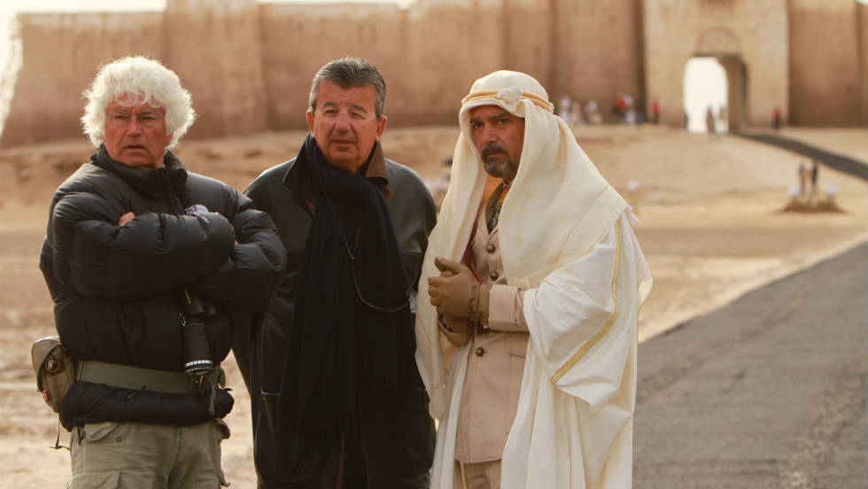 "Director Jean-Jacques Annaud, producer Tarak Ben Annar and actor Antonio Banderas discuss shooting a scene on the set of ""Black Gold."""