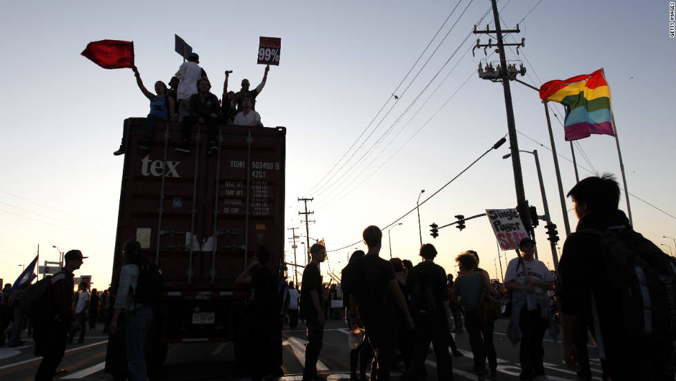 Occupy Oakland protesters gather at the Port of Oakland to shut down the facility Wednesday, November 2. The port partially reopened Thursday after a night of demonstrations.
