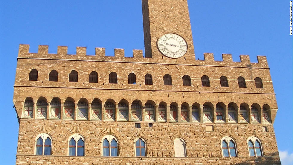 Palazzo Vecchio, a former fortress and palace and now a museum, is located in the heart of Florence overlooking the Piazza della Signoria.  A variety of statues line up in front of the palazzo including a copy of Michelangelo's David, which in 1873 replaced the original. The piazza in front is always bustling with tourists and is right next door to the Uffizi.