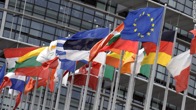 The flags of the countries which make up the European Union, outside the European Parliament in Strasbourg, France.