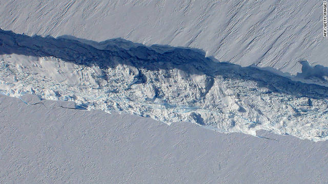 The crack that produced the iceberg is seen in October 2011.