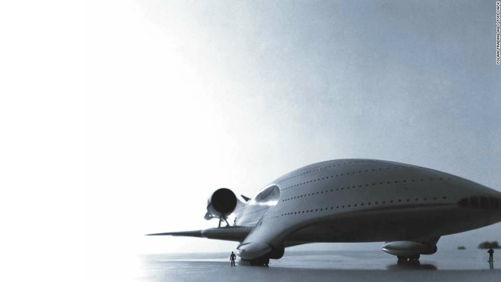 Colani's mega-passenger aircraft from 1977 is based on the shape of the Megalodon shark. It has four flight decks and swing-wings at the rear. Each flight deck can seat up to 1,000 passengers.