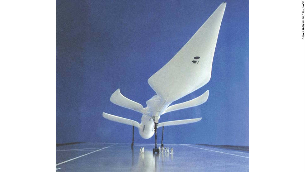Study for a Mach five passenger aircraft, 1983. The huge engine sucks in air through the perforated outer edge of the aircraft body. The four-winged supersonic plane was meant to cover the distance between Tokyo and London in just three hours.