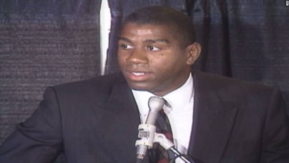 "NBA legend <a href=""http://www.cnn.com/2013/06/20/us/magic-johnson-fast-facts/"">Earvin ""Magic"" Johnson</a> called a press conference on November 7, 1991, to announce that he would be retiring from professional basketball after learning that he was HIV-positive."