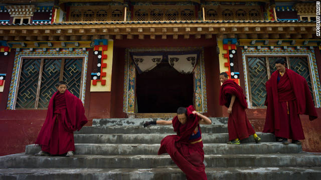 Buddhist monks at a monastery in Shanba township, one of many in China's restive southwestern Sichuan province.