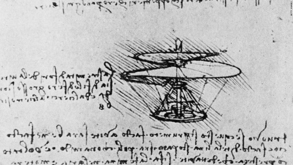 "One of Leonardo da Vinci's most famous designs is his idea for a ""helical air screw"" -- a helicopter-type flying machine, recognized as the ancestor of the modern helicopter. Next to his design is da Vinci's version of shorthand. Da Vinci used mirror writing when his notes were only intended for himself."