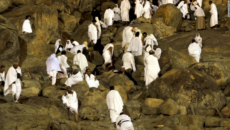 Muslim piligrims gather on Mount Arafat on Friday in Mecca.