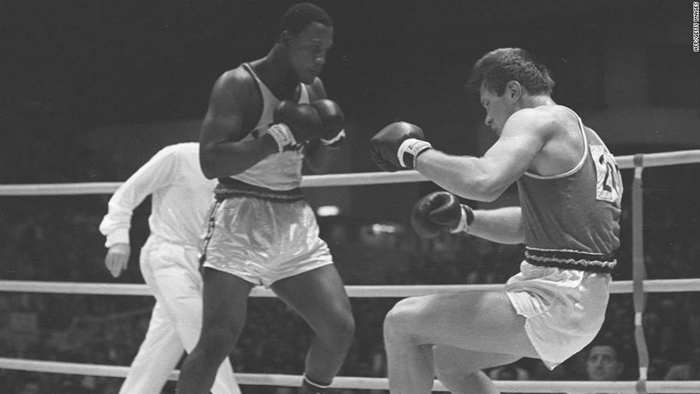 Joe Frazier and Russian Vadim Yemelyanov fight in a semifinal at the Olympic Games in Tokyo in 1964. Frazier went on to win gold.