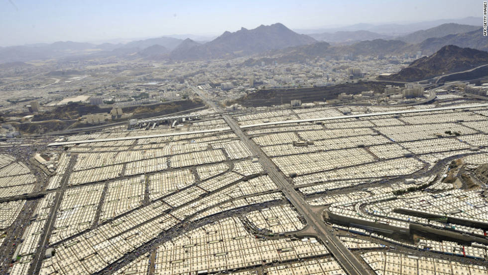 Tens of thousands of pilgrims occupy tents in Mina, near Mecca, Saudi Arabia, on Monday, November 7, during the annual Hajj pilgrimage rituals.