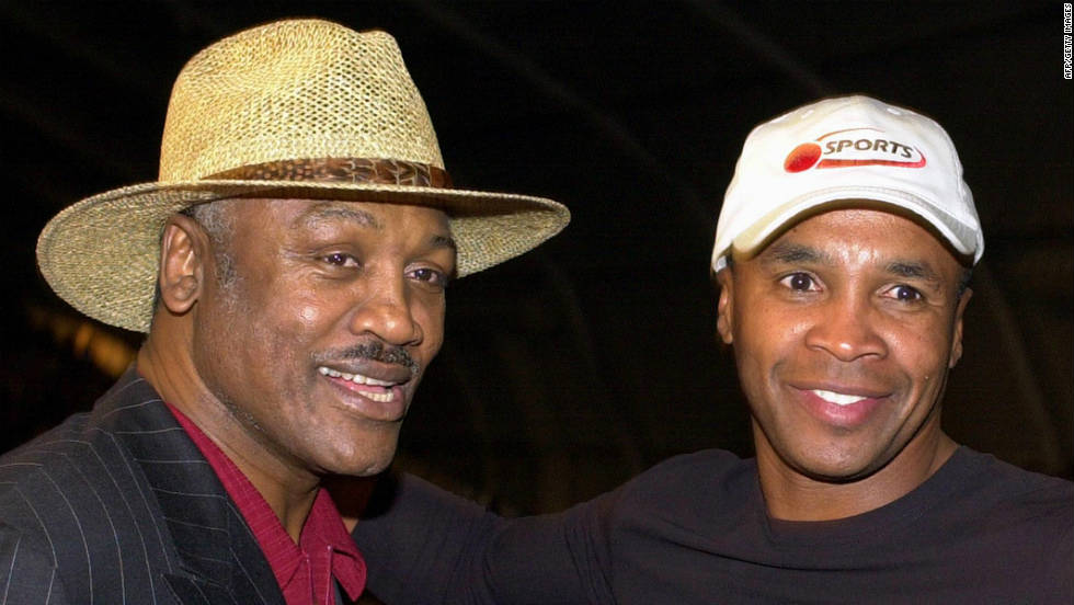 Frazier and Sugar Ray Leonard meet before Frazier's daughter Jacqui Frazier-Lyde fought Laila Ali during the women's super middleweight fight in 2001 in New York. <br />