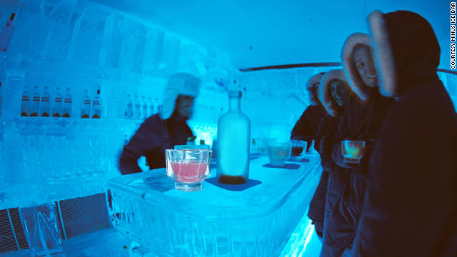 Customers enjoy a cool beverage at Minus5 Ice Bar in Las Vegas, where everything is made of ice.