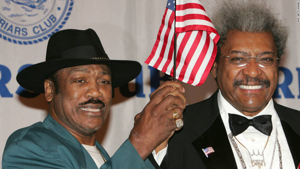 Frazier and boxing promoter Don King attend the roasting of Don King at the Friars Club in 2005 in New York.