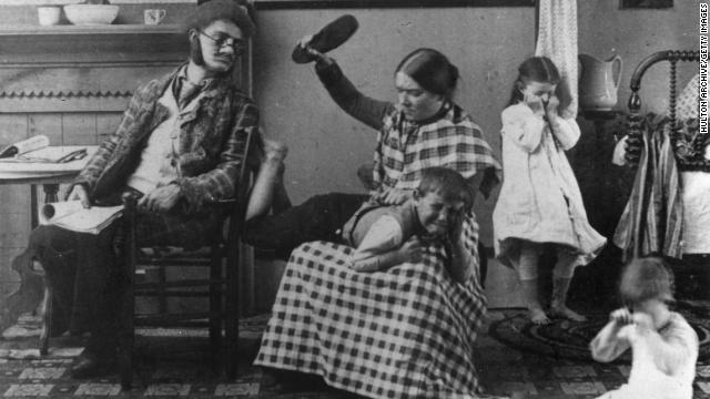 A mother spanks her little boy with a shoe in 1891. Parents have different ideas about punishment in 2011.