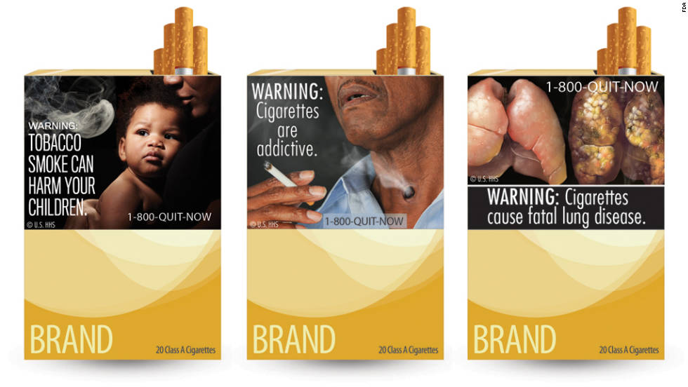 tobacco warning labels The united states currently requires that one of four rotating text health warnings appear on the side panel of all cigarette packages and advertisements smokeless tobacco packages are also required to carry warning label statements several tobacco companies the united states court.