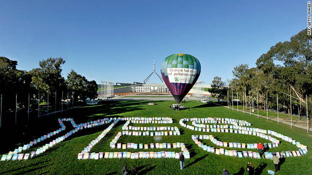 A hot air balloon stands in front of Parliament House in Australia's capital, Canberra during a pro-carbon tax rally in October.