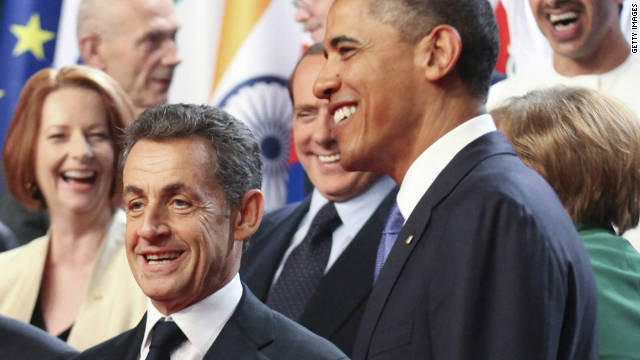French President Nicolas Sarkozy and U.S. President Barack Obama at the G20 summit in Cannes, France, on November 3, 2011.