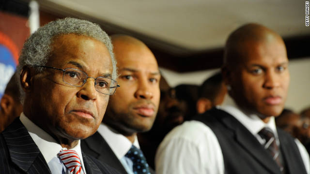 Billy Hunter, executive director of the National Basketball Players Association (left) and Derek Fisher, NBPA president (center), said Tuesday the players have rejected the owners' latest offer.