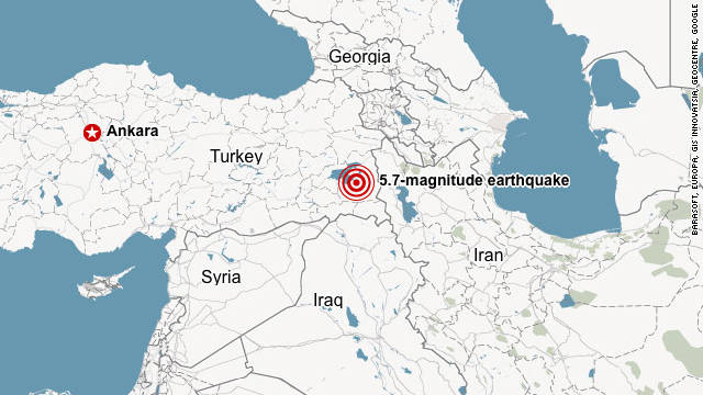 A magnitude 5.7 earthquake struck eastern Turkey on Wednesday, according to the U.S. Geological Survey.