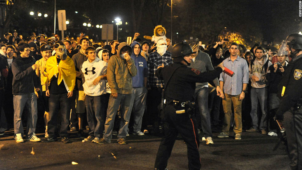 Following the firing of Penn State's legendary football coach Joe Paterno and the school's president, hundreds of students take to the streets in State College, Pennsylvania, early Thursday, November 10.