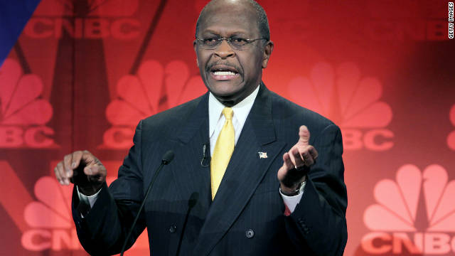 Herman Cain defended himself during a debate hosted by CNBC in Michigan on Wednesday.