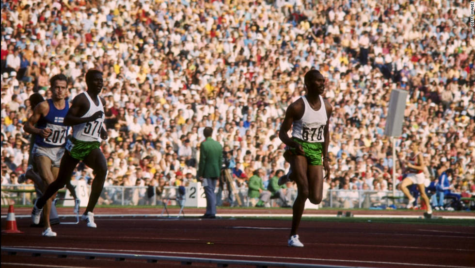 Kip Keino stretches his legs at the 1972 Olympic Games in Munich, Germany.