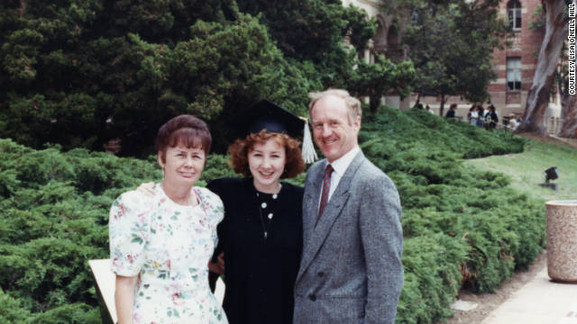 Lisa O'Neill Hill poses with her parents Moyra and Mike O'Neill at her graduation from UCLA in 1990.