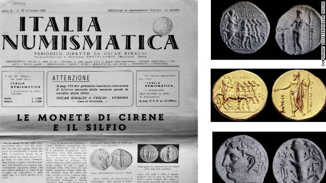 "Ancient Greek gold and silver coins listed in the original Italian inventory of the ""Benghazi Treasure"" which has now disappeared."