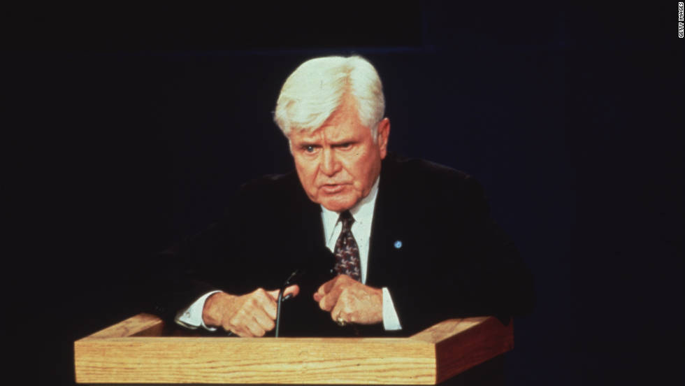 "Adm. James Stockdale, the affable running mate of Reform Party candidate Ross Perot, tried for a funny opening line during the 1992 vice presidential debate in Atlanta against Dan Quayle. His now famous ""Who Am I? Why Am I Here?"" phrase later became fodder for Saturday Night Live's Phil Hartman."