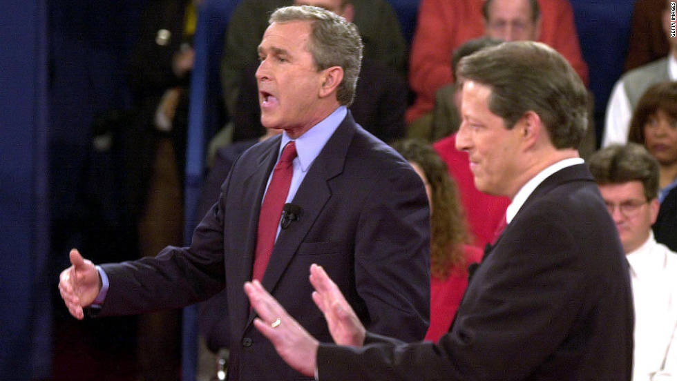 Later that same month, during a different debate, Vice President Gore interrupts one of George W. Bush's answers by invading his personal space.