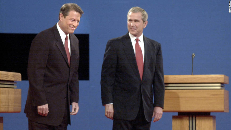 Al Gore sighs excessively during his first presidential debate against George W. Bush in Boston.