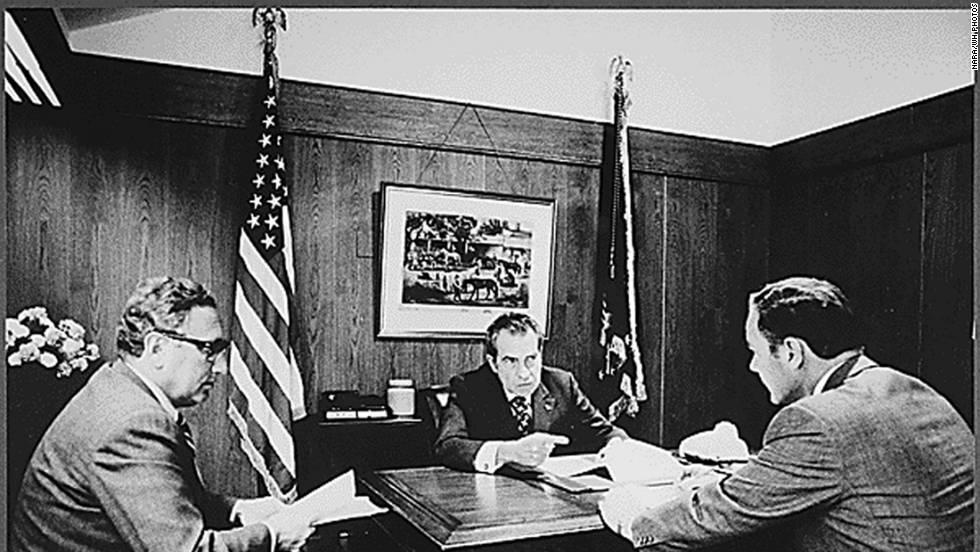 Secretary of State Henry Kissinger, President Nixon and Gen. Alexander Haig meet at Camp