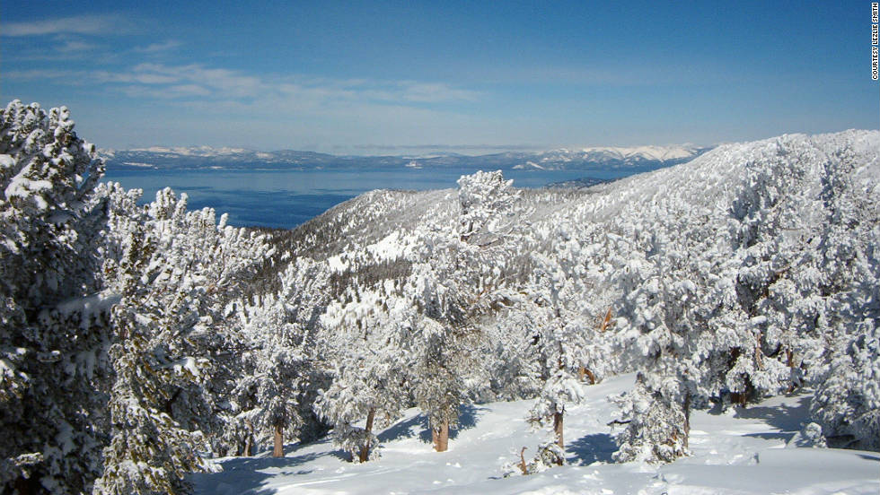 "iReporters sent us snowy photos of their favorite ski trips. Lezlie Smith shared this photo she took while skiing the slopes of Lake Tahoe. ""It's a fun town and gorgeous scenery -- sometimes it's hard to ski because you want to just stop and stare at all the beauty around you!"""