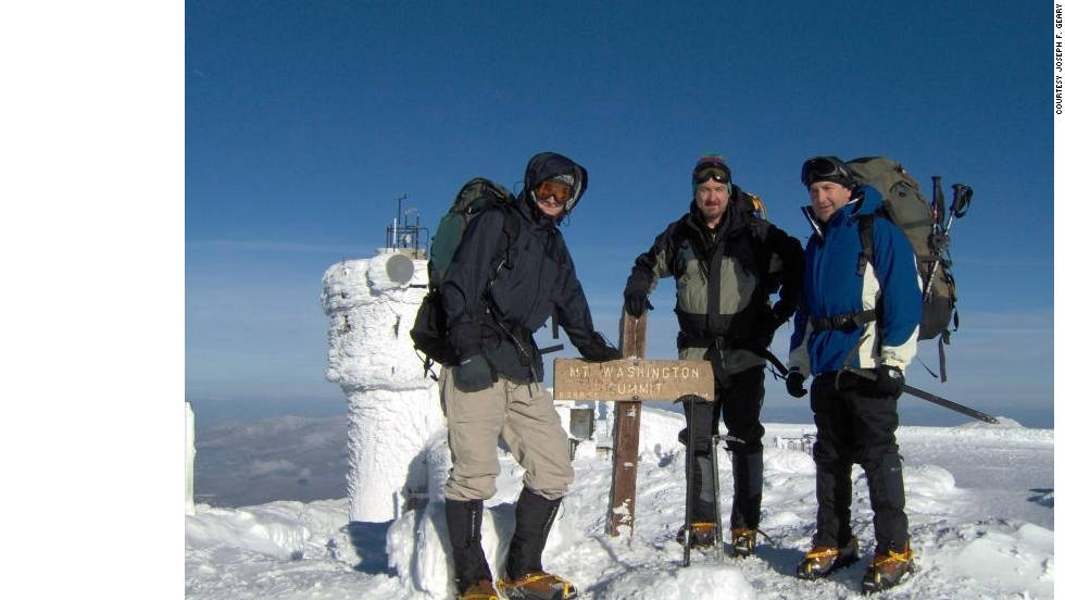 "Joseph Geary shared this photo of himself (middle) with his friends Jay (left) and Pat ""on the summit of Mount Washington. ""We stood on the 6,288 foot tall mountain in the middle of winter and watched the sun rise over the Atlantic Ocean about 75 miles away on the morning after our climb."""