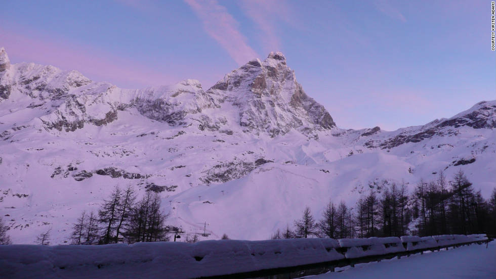 """This picture of Cervino was taken before the sun rose over the mountains from the apartment I was staying at in Breuil-Cervinia, Italy,"" Kirsten Adams said of her photo. ""The luminosity of the pink clouds was phenomenal, almost ethereal."""