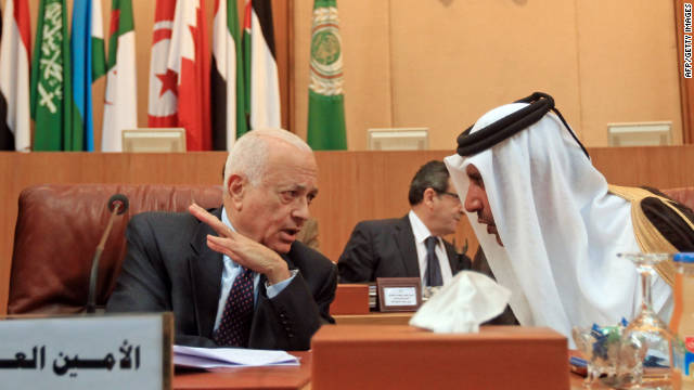 Qatari Prime Minister Sheikh Hamad bin Jassim, right, speaks to Arab League Secretary General Nabil al-Arabi on Saturday.
