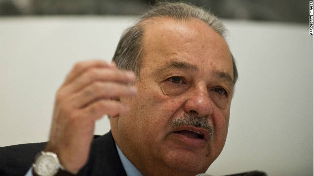Mexican tycoon Carlos Slim speaks during a press conference at the Soumaya Museum in Mexico City, on the eve of its opening to the public, on March 28, 2011..