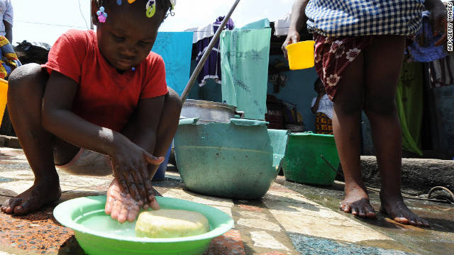 An Ivorian child washes her hands on the first Global Handwashing Day, which took place in 2008.