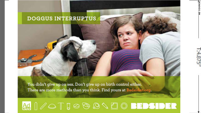 A dog keeps his eye on a couple in this campaign ad.
